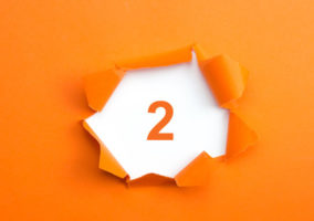 number 2 on orange background