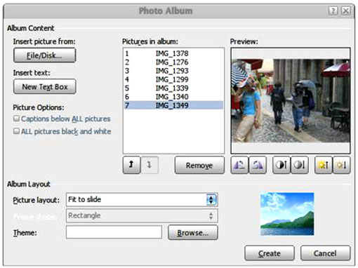 Figure 2: Photo Album dialog box