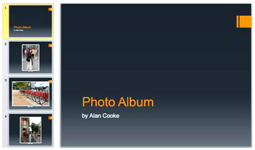 Three great features of powerpoint 2010 figure 4 thumbnails and cover for album using a theme toneelgroepblik Images