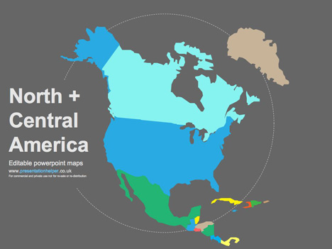 Free Vector Map Of North America.Editable Powerpoint Vector Maps
