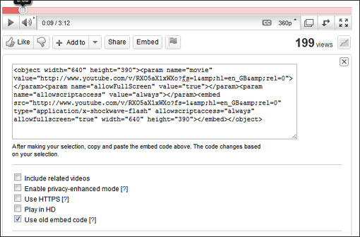 Embed code and player options from YouTube