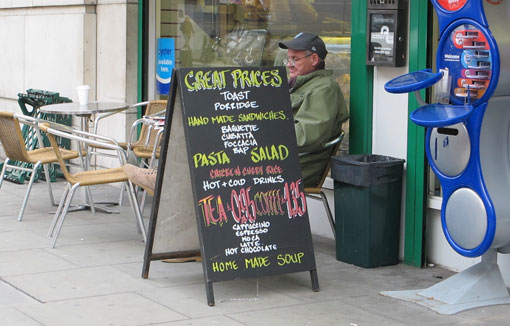 An a board is a very effective way of drawing attention to a shop