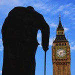 outline of churchill against Big Ben