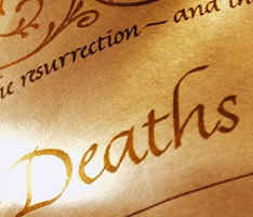 Photo of part of a register of deaths