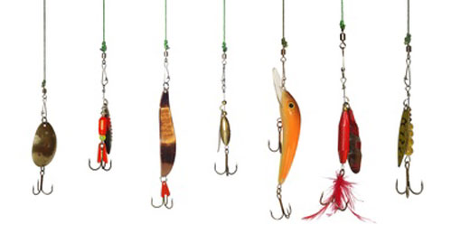 7 different fishing hooks