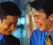 photo of two laughing men