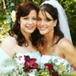 A picture of a maid of honor next to the bride