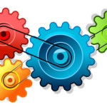 a series of coloured cogs