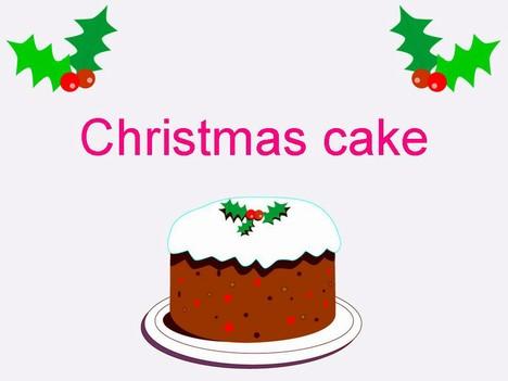 Christmas Cake Black And White Cartoon