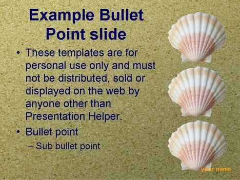 Sea Shells PowerPoint Template inside page