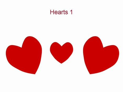 Hearts 1 valentine s template with three red hearts scattered on a
