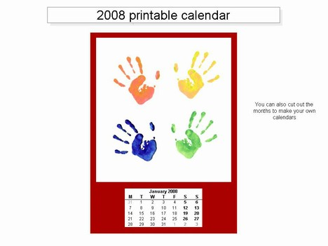 Free 2008 printable calendar template inside page