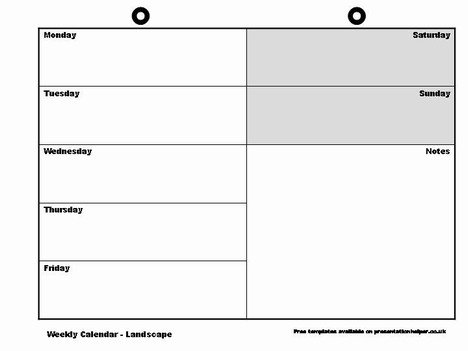 Weekly Calendar Template – Weekly Log Template