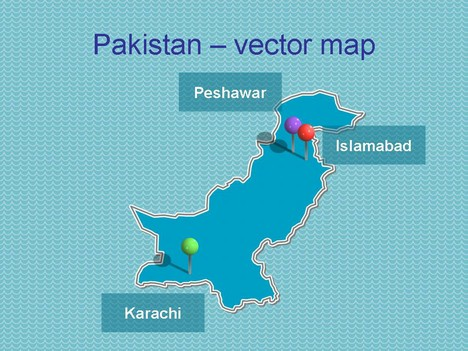 Free PowerPoint map of Pakistan