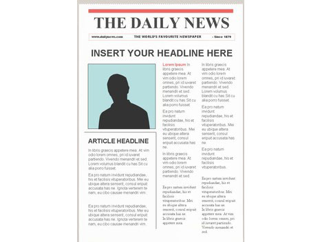 Editable newspaper template portrait for Create your own newspaper template
