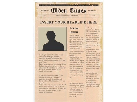 Editable Newspaper Template Portrait Inside Page