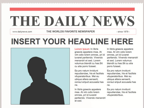 Editable powerpoint newspapers for Newspaper article template online