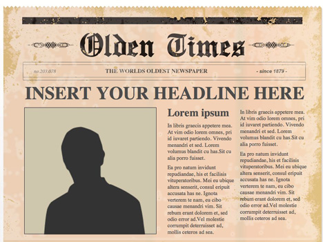 Editable PowerPoint Newspapers – Newspaper Headline Template