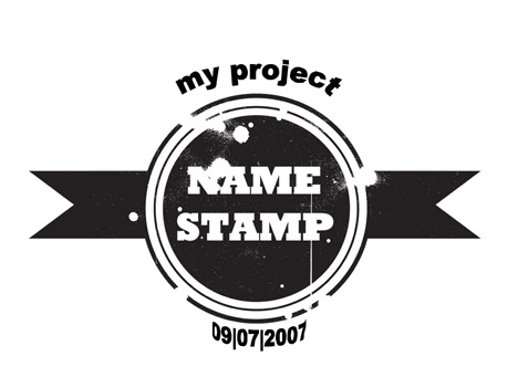 Grunge Name Stamps inside page