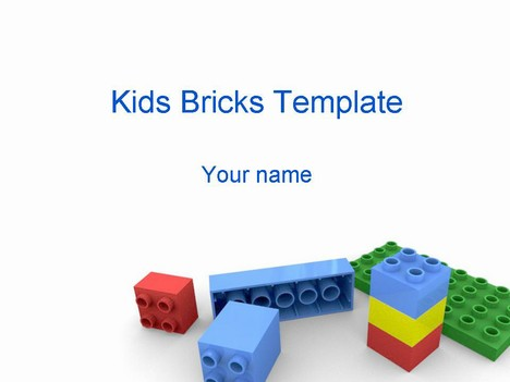 Kids Building Bricks Powerpoint Template