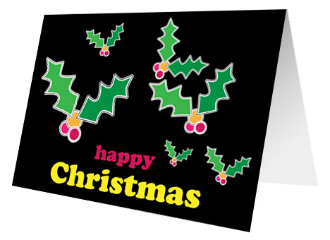 Christmas Holly Free Printable Card inside page
