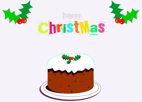 Cartoon Christmas Cake Card