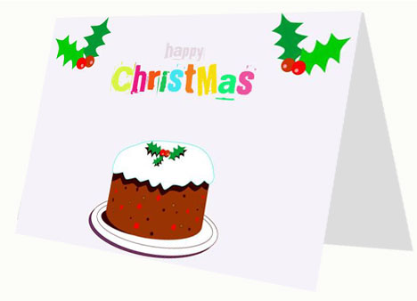 Cartoon Christmas Cake Card inside page