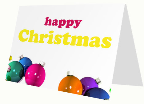 Christmas Baubles Card inside page