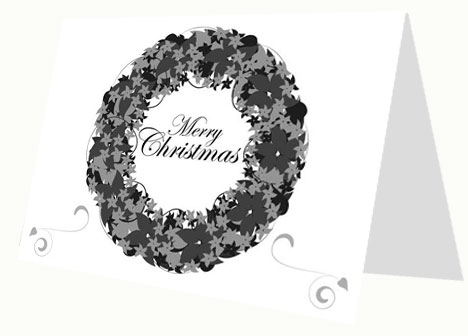 Black and white christmas card toneelgroepblik