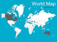 PowerPoint Maps Of Canada Template - Canada map in world map
