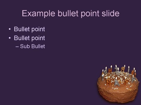 Birthday Cake Template inside page