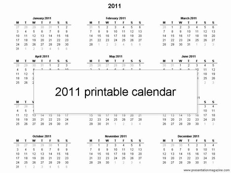 Free 2011 Monthly Calendar Template