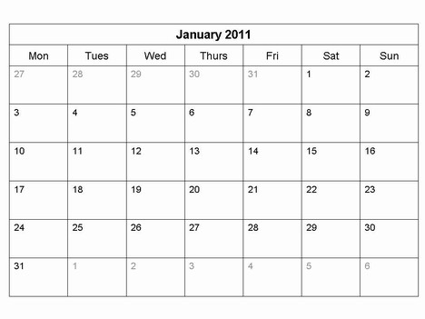 Free 2011 Monthly Calendar Template inside page