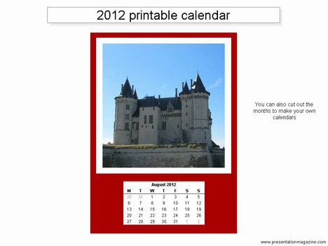Free 2012 printable calendar template inside page
