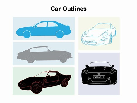 car outlines template, Modern powerpoint