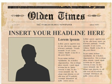 Editable olden times newspaper for Newspaper article template online