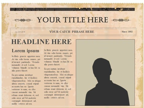 Editable Olden Times Newspaper inside page