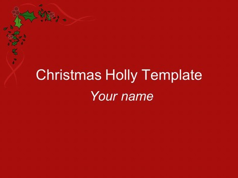 ChristmasHollyTemplatePowerpointJpg