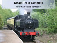 Steam Train Background PowerPoint Template thumbnail