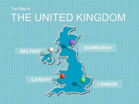 The United Kingdom Map-of-the-united-kingdom-and-flag-template-powerpoint_1