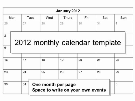 Free 2012 Monthly Calendar Template