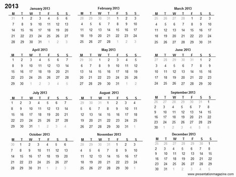 free 2013 printable calendar template inside page