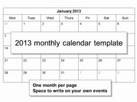 Free 2013 Monthly Calendar Template