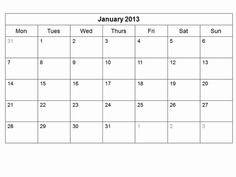 Free 2013 Monthly Calendar Template inside page