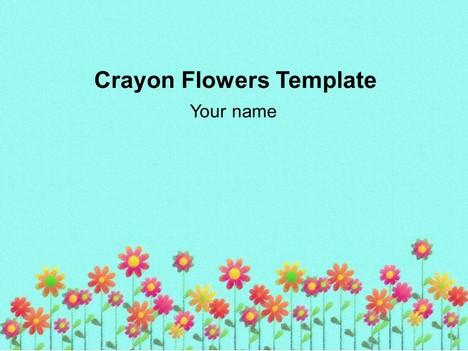 크레용 꽃 배경 템플릿