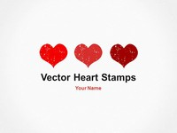 Vector Heart Stamps Template