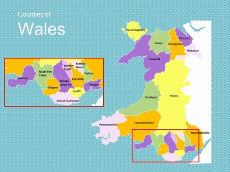 Map of Wales inside page