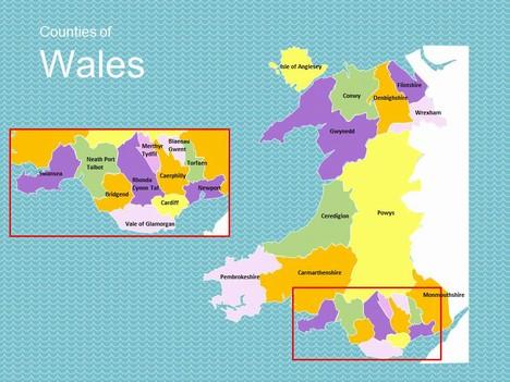 map of wales. Black Bedroom Furniture Sets. Home Design Ideas