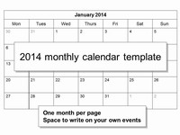 Free 2014 Monthly Calendar Template