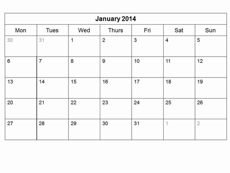 Free 2014 Monthly Calendar Template inside page